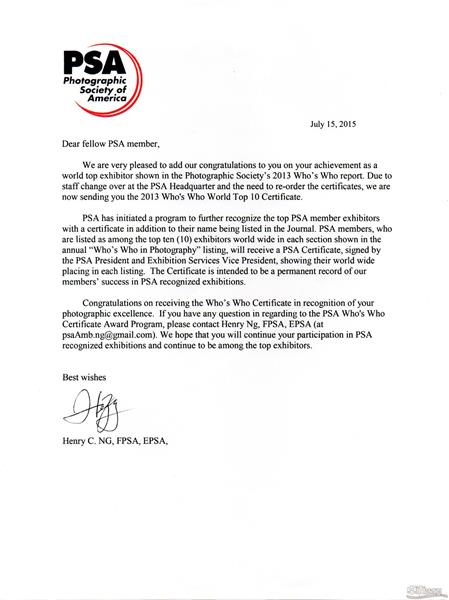 2013年美国摄影学会颁发十杰证书
